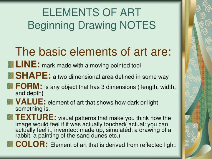 Basic Elements Of Art : Ppt elements of art beginning drawing notes powerpoint