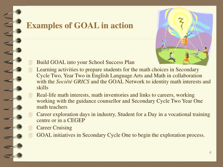 Examples of GOAL in action