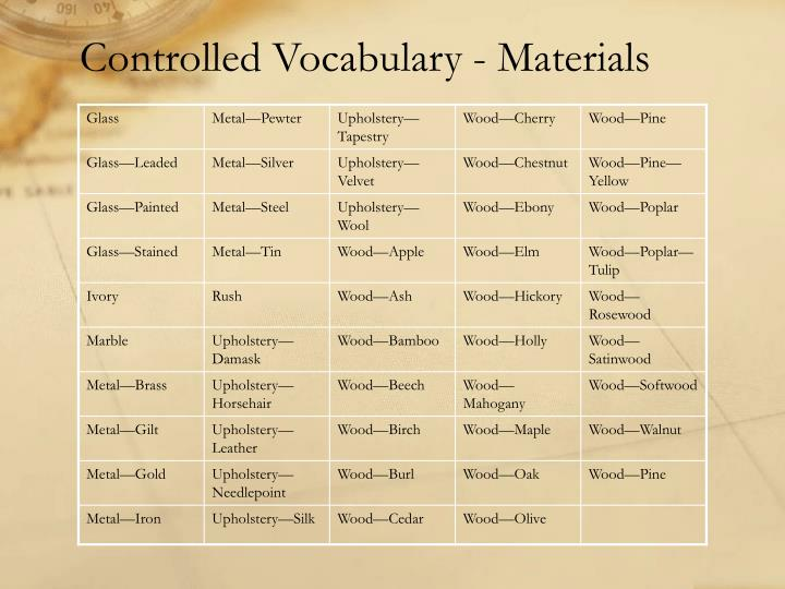 Controlled Vocabulary - Materials