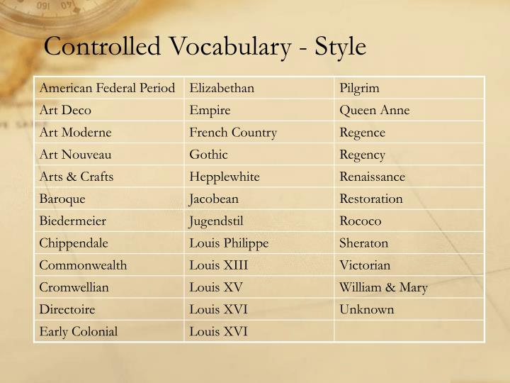 Controlled Vocabulary - Style