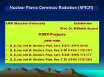 nuclear pionic cerenkov radiation npicr