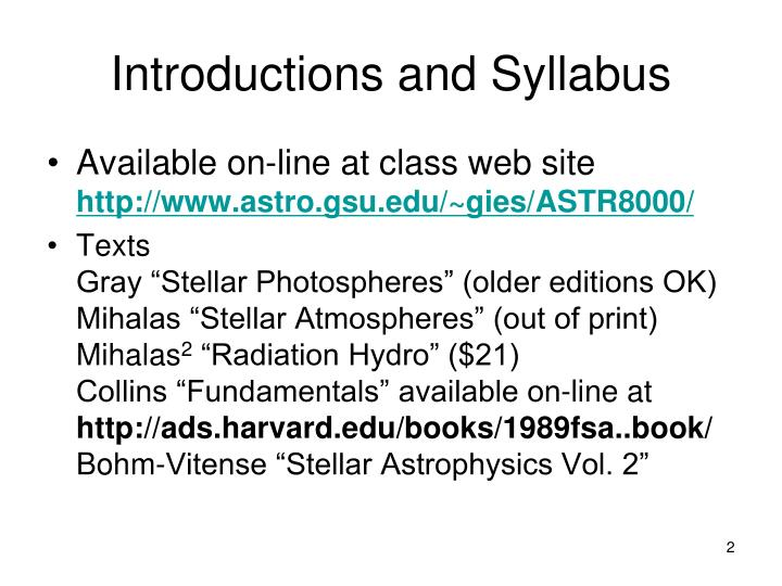 Introductions and Syllabus