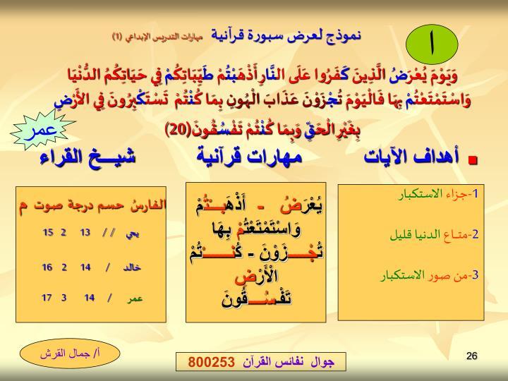 نموذج لعرض سبورة قرآنية