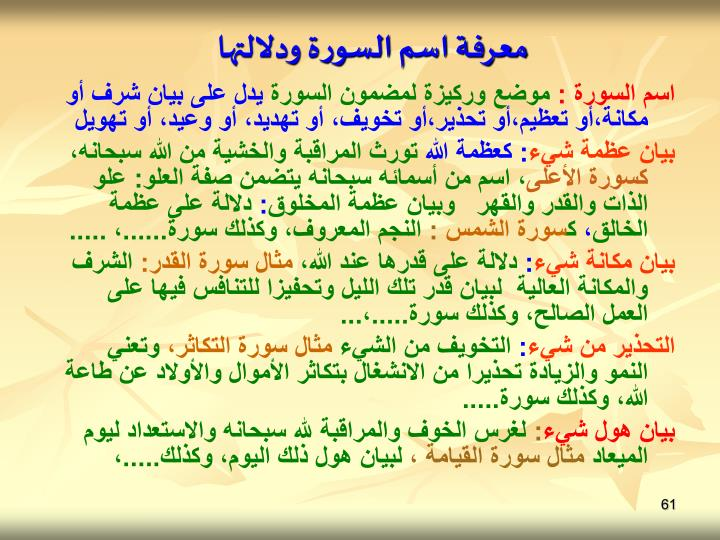معرفة اسم السورة ودلالتها