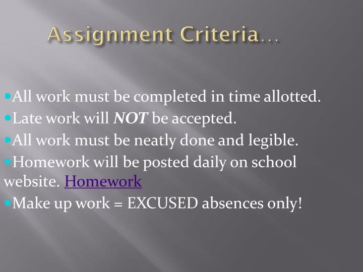 Assignment Criteria…