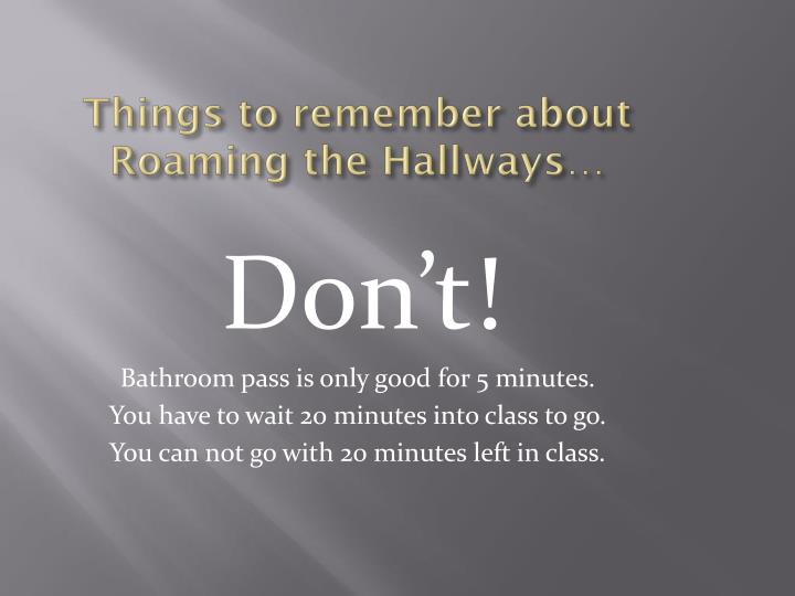 Things to remember about Roaming the Hallways…