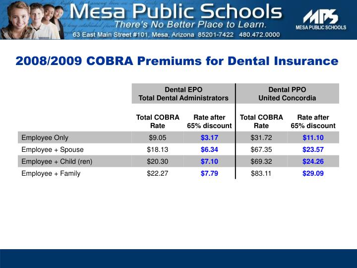 2008/2009 COBRA Premiums for Dental Insurance