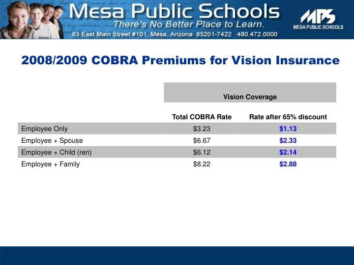 2008/2009 COBRA Premiums for Vision Insurance