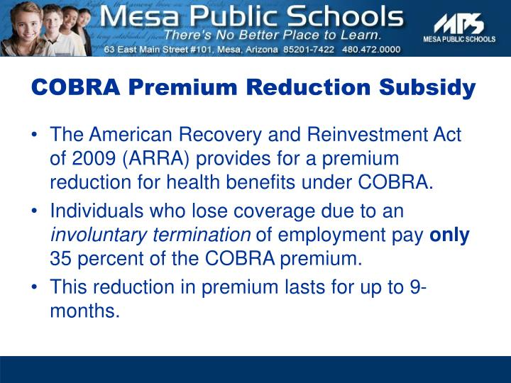 COBRA Premium Reduction Subsidy