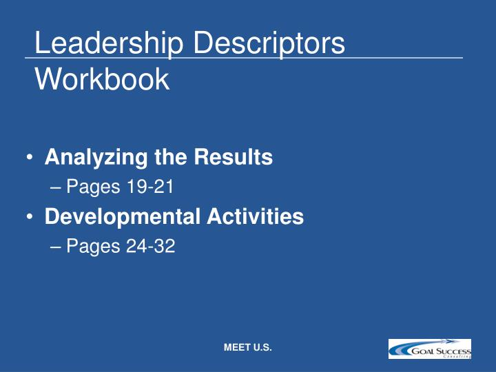 Leadership Descriptors Workbook