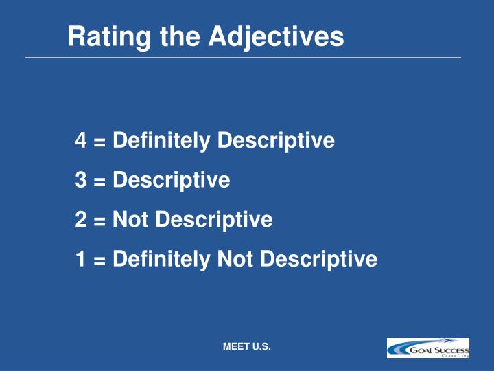 Rating the Adjectives