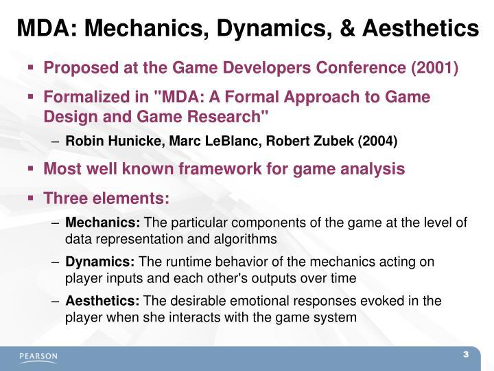 MDA: Mechanics, Dynamics, & Aesthetics
