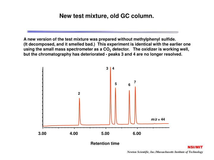 New test mixture, old GC column.