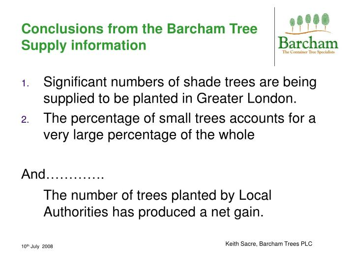 Conclusions from the Barcham Tree Supply information