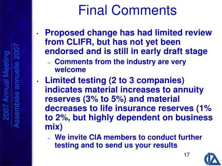 Proposed change has had limited review from CLIFR, but has not yet been endorsed and is still in early draft stage