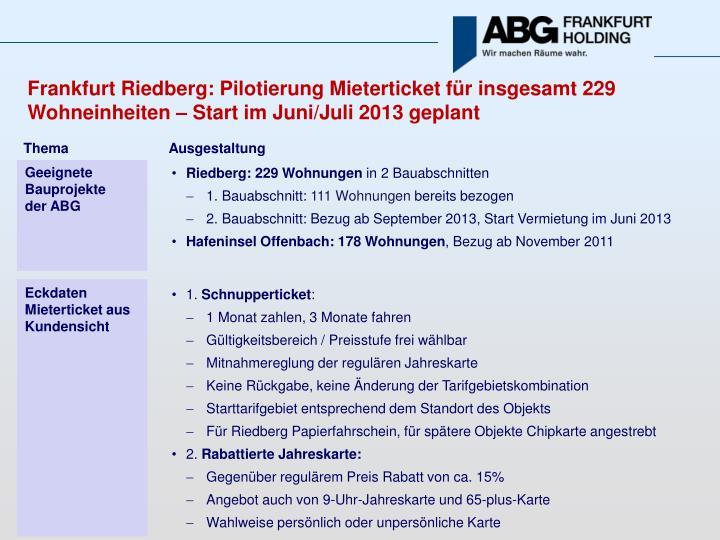 Frankfurt Riedberg: Pilotierung Mieterticket für insgesamt 229 Wohneinheiten – Start im Juni/Juli 2013 geplant
