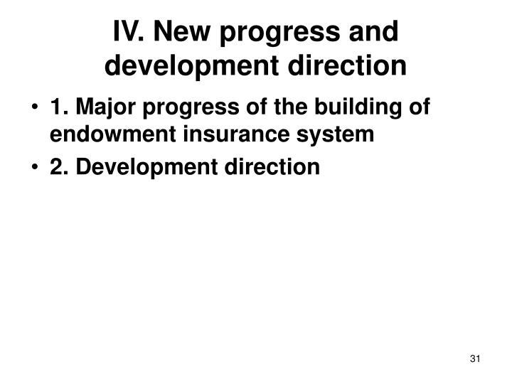 IV. New progress and development direction