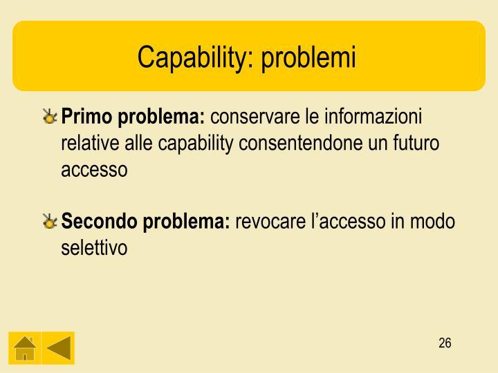 Capability: problemi