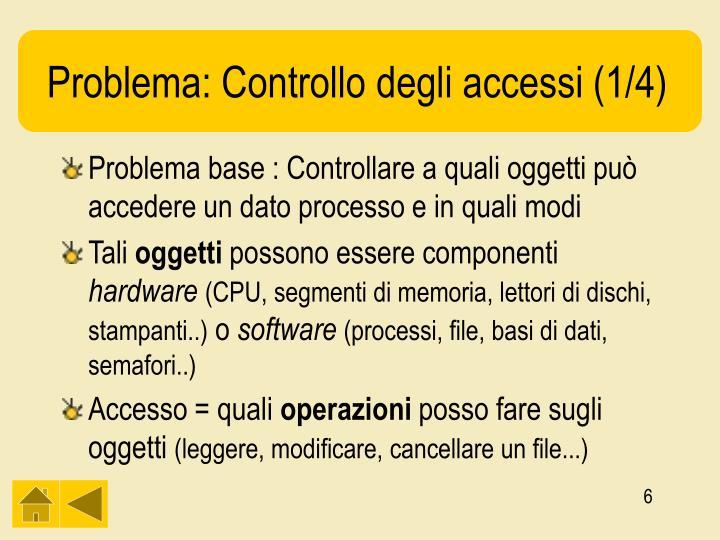 Problema: Controllo degli accessi (1/4)