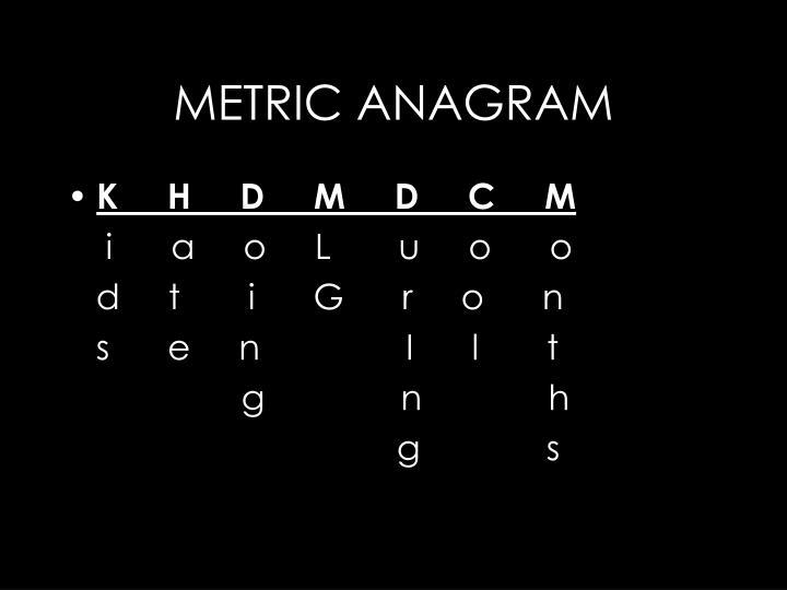 METRIC ANAGRAM