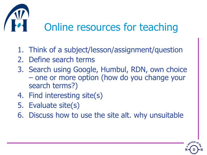 Online resources for teaching