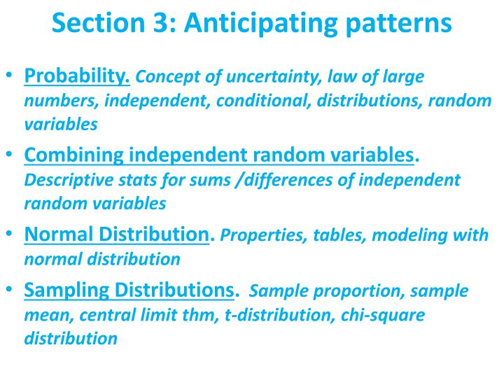 Section 3: Anticipating patterns