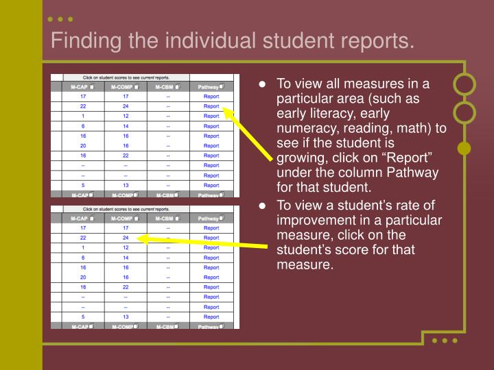 Finding the individual student reports.