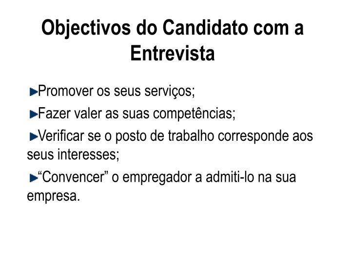 Objectivos do Candidato com a Entrevista