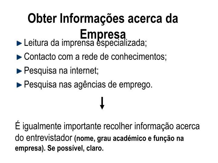 Obter Informações acerca da Empresa