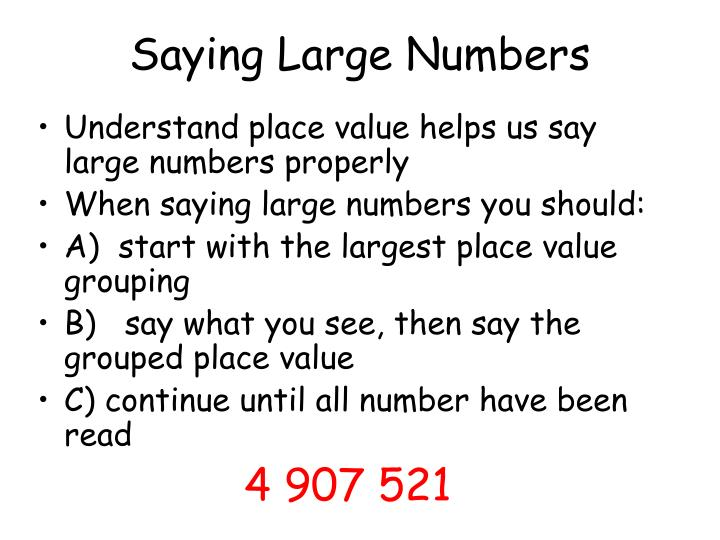 Saying Large Numbers