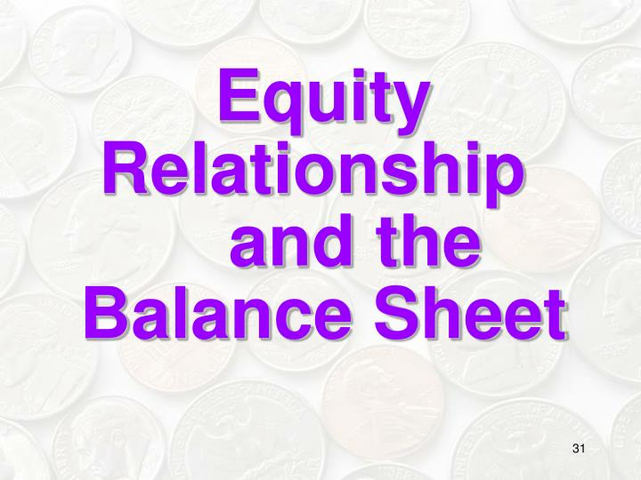 Equity Relationship 		and the Balance Sheet