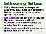 net income or net loss