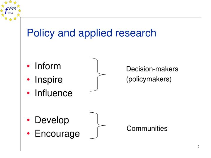 Policy and applied research