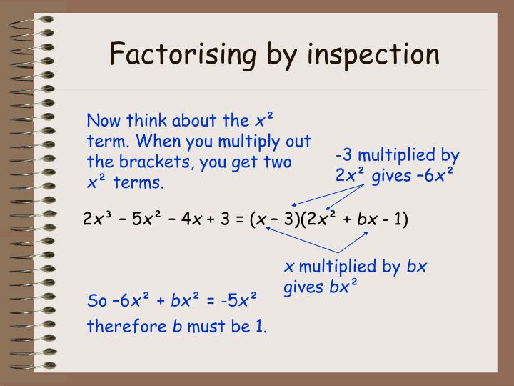 Factorising by inspection