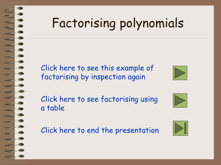 Factorising polynomials