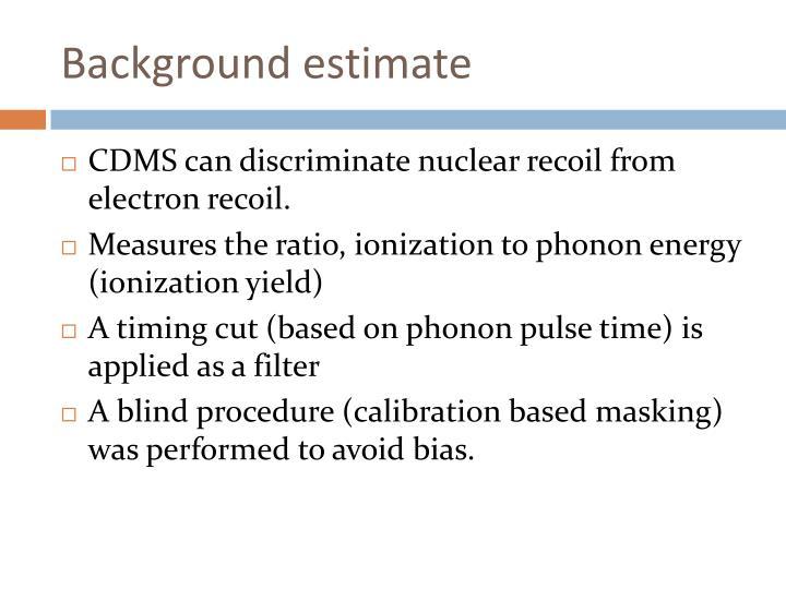 Background estimate