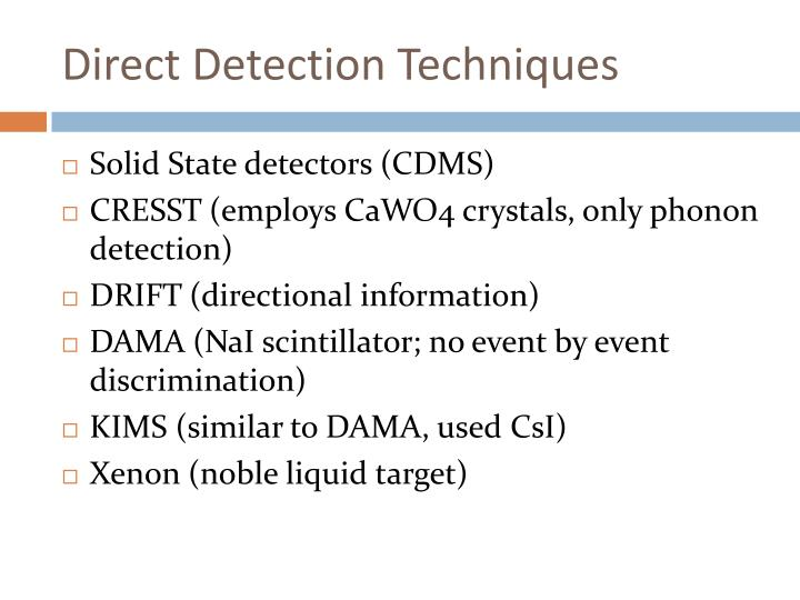 Direct Detection Techniques