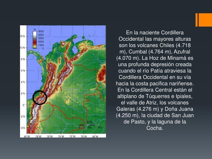 En la naciente Cordillera Occidental las mayores alturas son los volcanes Chiles (4.718 m), Cumbal (4.764 m), Azufral (4.070 m). La Hoz de Minamá es una profunda depresión creada cuando el río Patía atraviesa la Cordillera Occidental en su vía hacia la costa pacifica nariñense.
