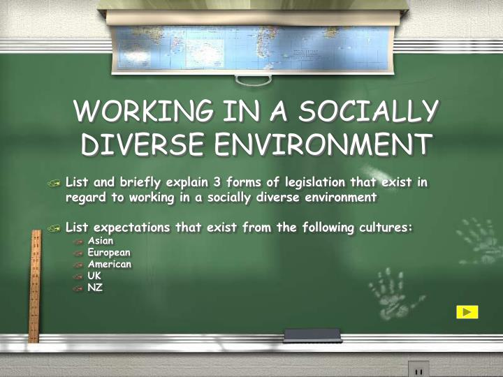 WORKING IN A SOCIALLY DIVERSE ENVIRONMENT