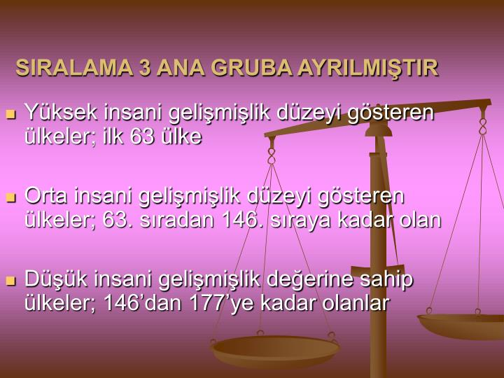 SIRALAMA 3 ANA GRUBA AYRILMIŞTIR