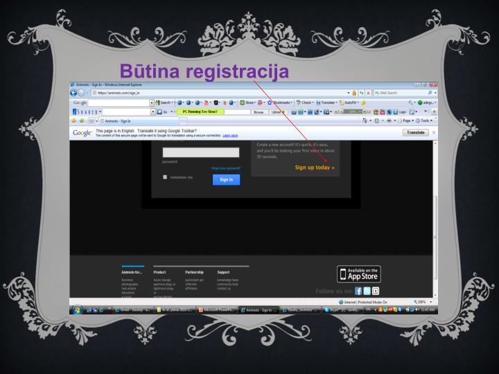 Būtina registracija
