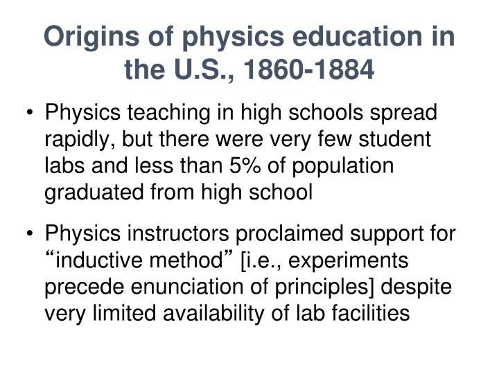 Origins of physics education in the U.S., 1860-1884