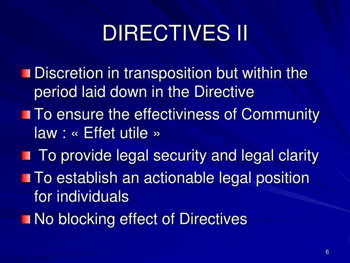 DIRECTIVES II