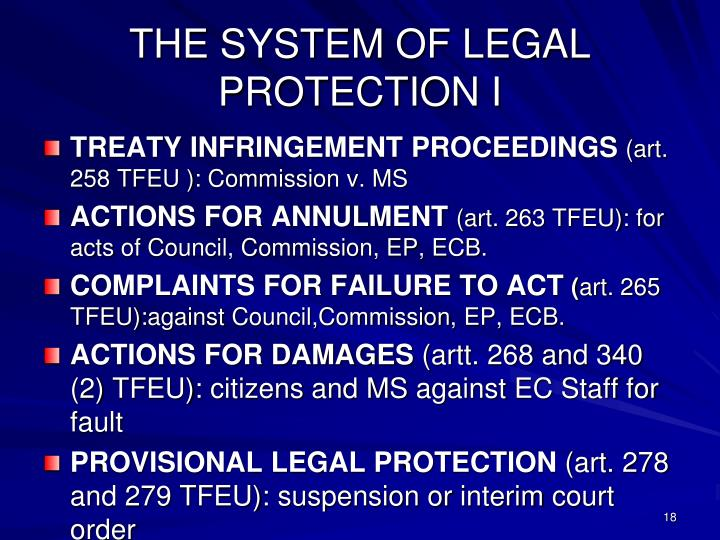 THE SYSTEM OF LEGAL PROTECTION I