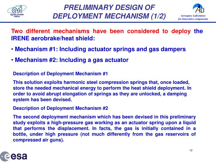 PRELIMINARY DESIGN OF DEPLOYMENT MECHANISM (1/2)