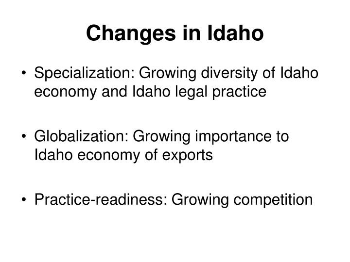 Changes in Idaho