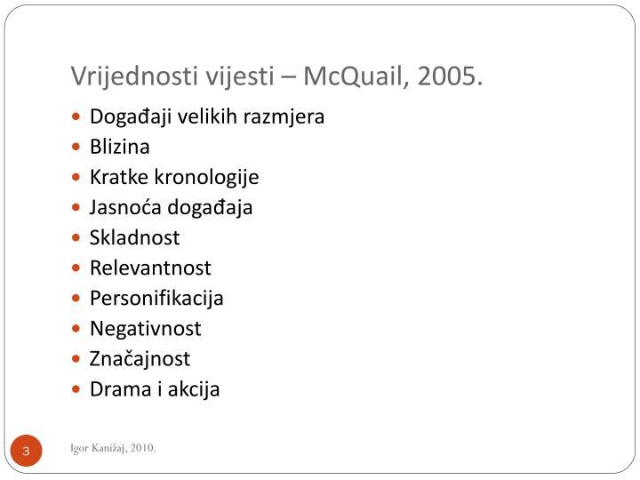 Vrijednosti vijesti – McQuail, 2005.
