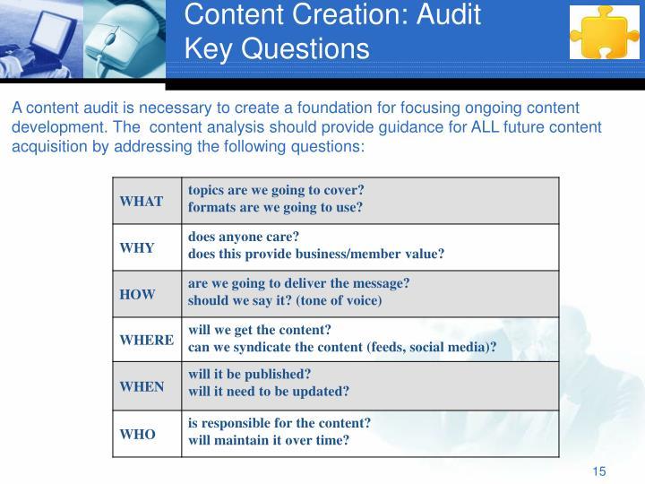 Content Creation: Audit
