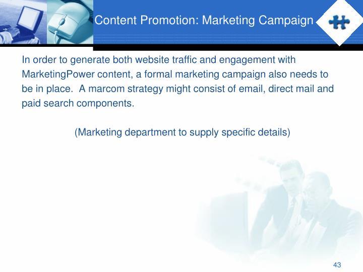 Content Promotion: Marketing Campaign