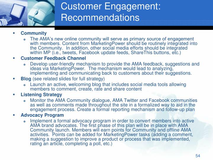 Customer Engagement: Recommendations